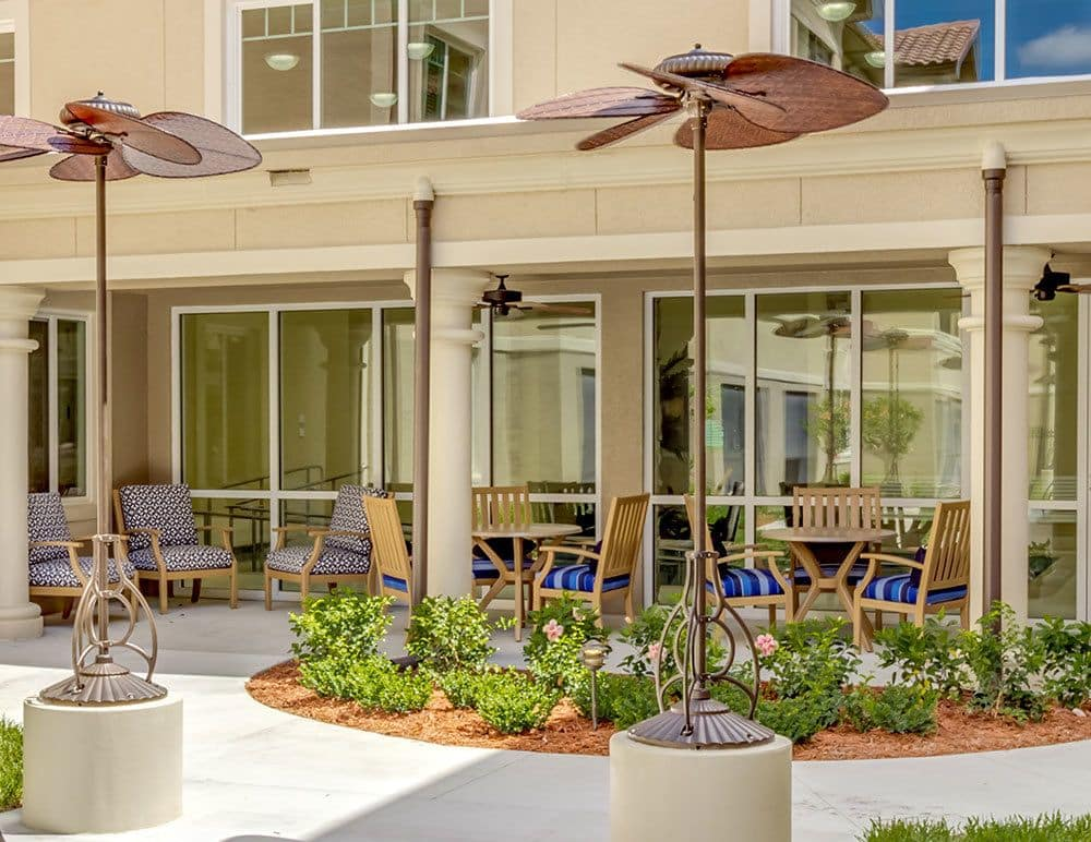 Sunny patios for senior living residents in Naples