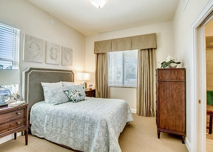Bedroom at senior living in Bradenton, FL