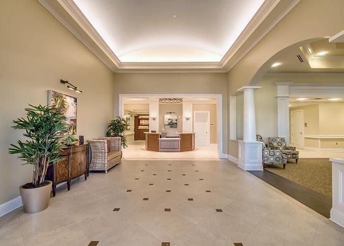 Lobby at senior living in Bradenton, FL