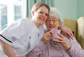 Senior living resident with nurse in Tampa