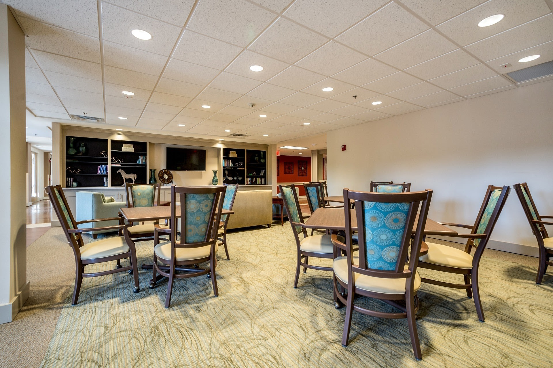 Suwanee senior living includes a game room