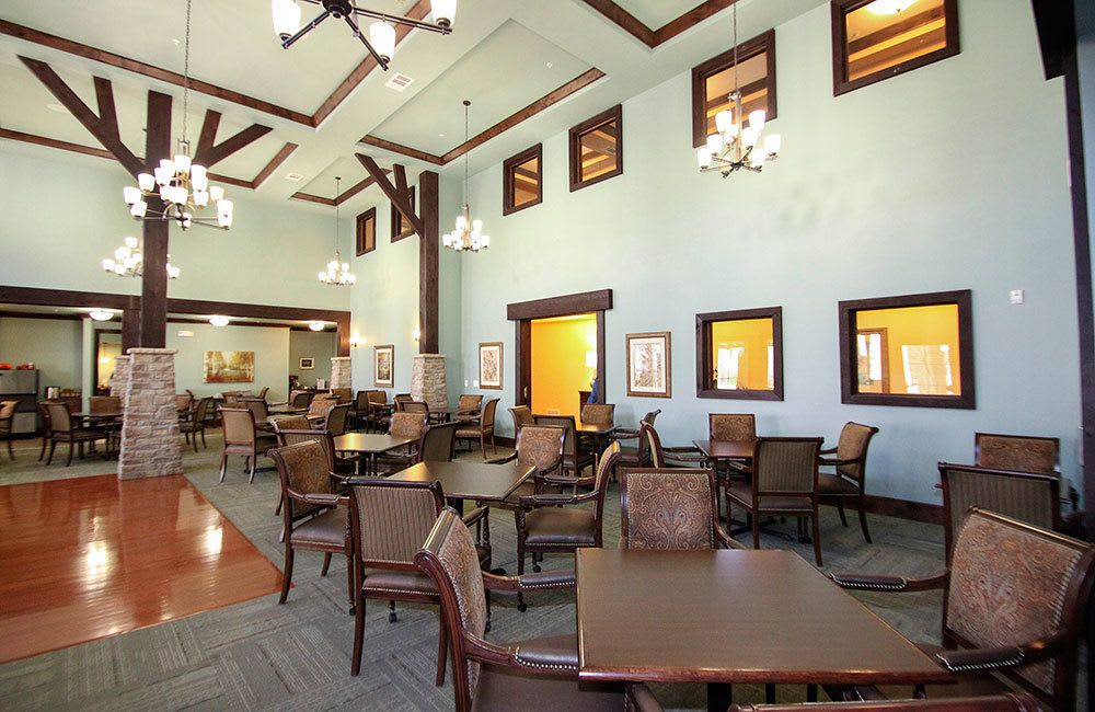 Allen senior living features a spacious dining room