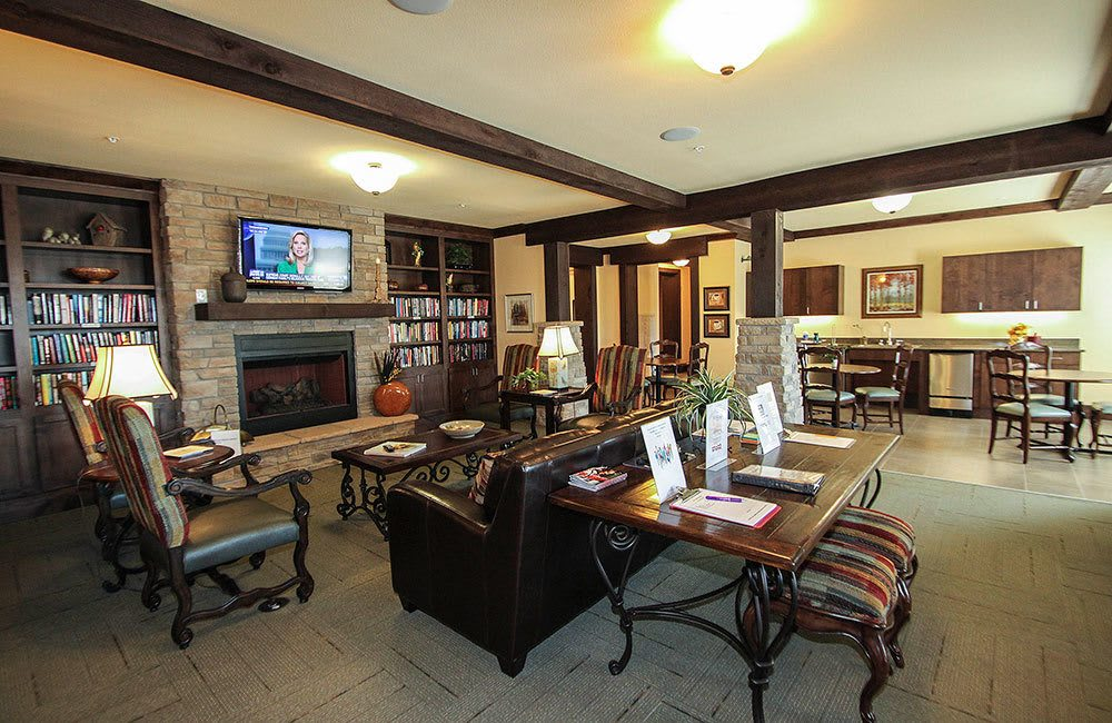 Relax and socialize in the lounge at our Allen senior living community