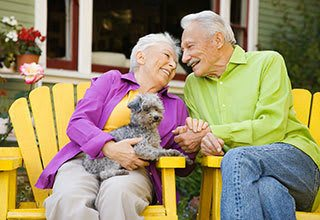 Allen senior living residents with their pet