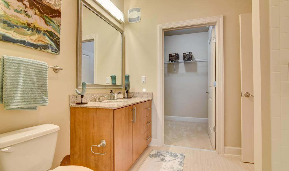 Bathroom and walk-in closet at West End Village in Nashville, TN
