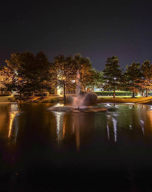 Night time fountain shot at Legacy on the Bay in Destin