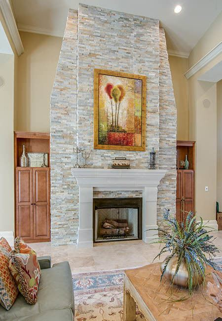 Beautiful fireplace at Legacy on the Bay in Destin