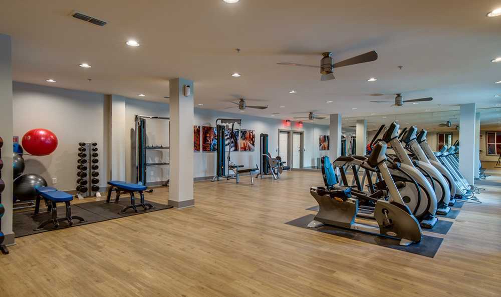 24-Hour Cardio Fitness Center with Free Weights at Block Lofts in Atlanta, GA