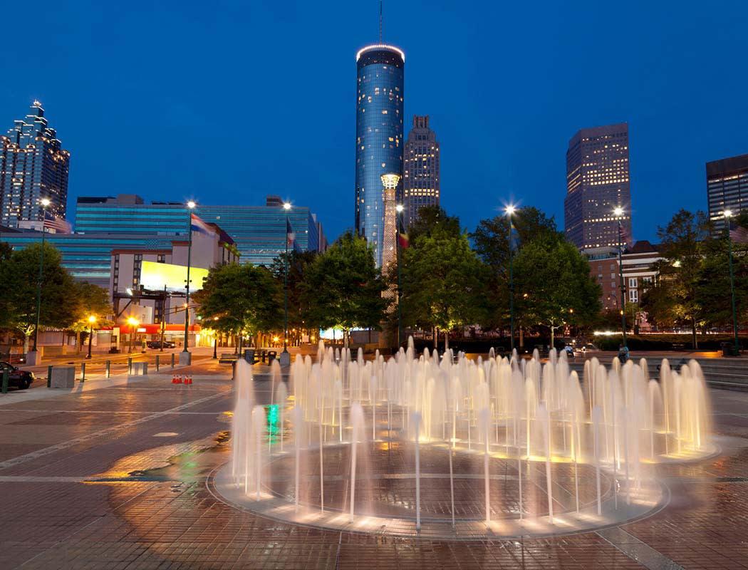 Night shot of Atlanta near Block Lofts