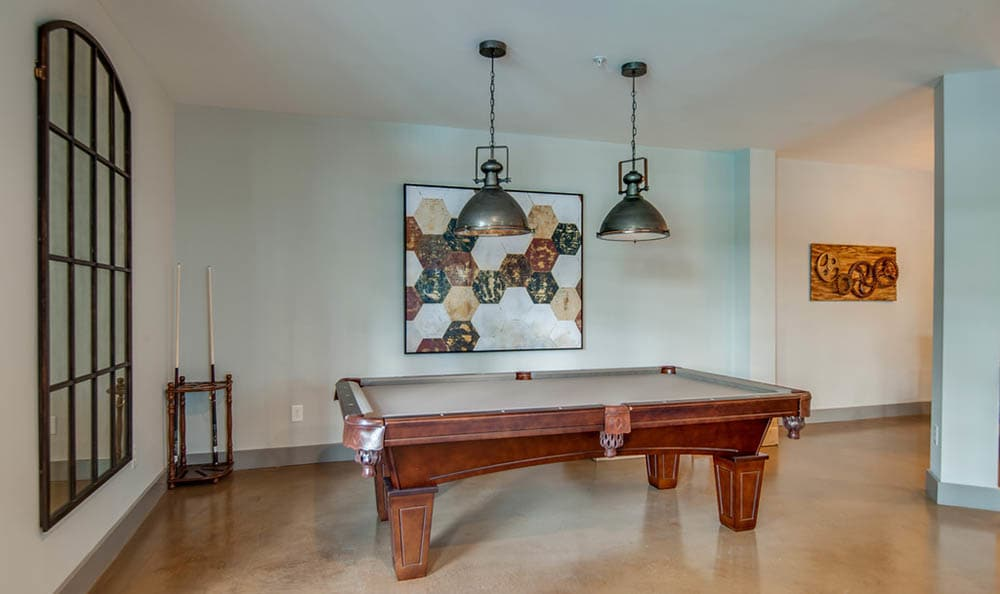 Pool Table In Clubhouse At Block Lofts
