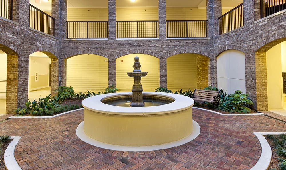 Fountain In Courtyard At Lane Parke Apartments
