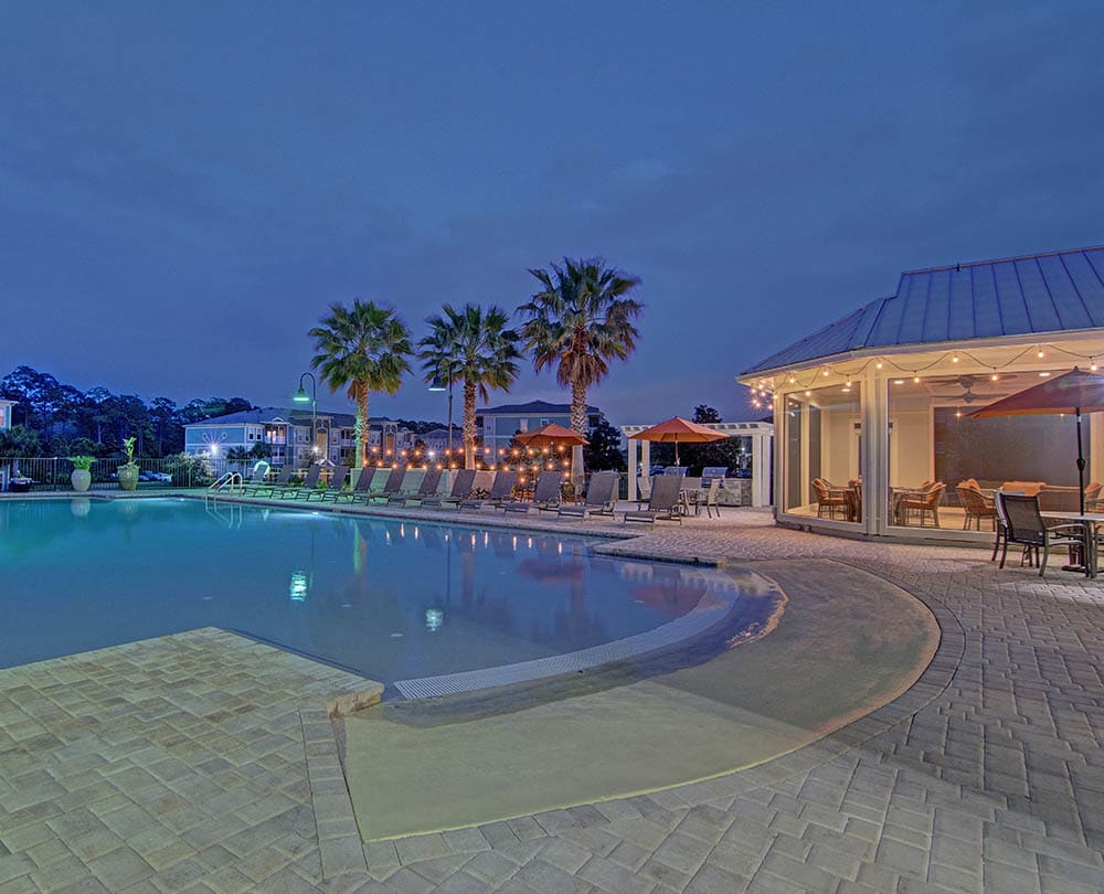 Sophisticated poolside lounge at The Retreat at PCB in Panama City Beach