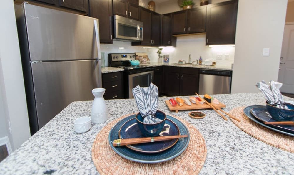 Kitchen With Island At Parc at Broad River