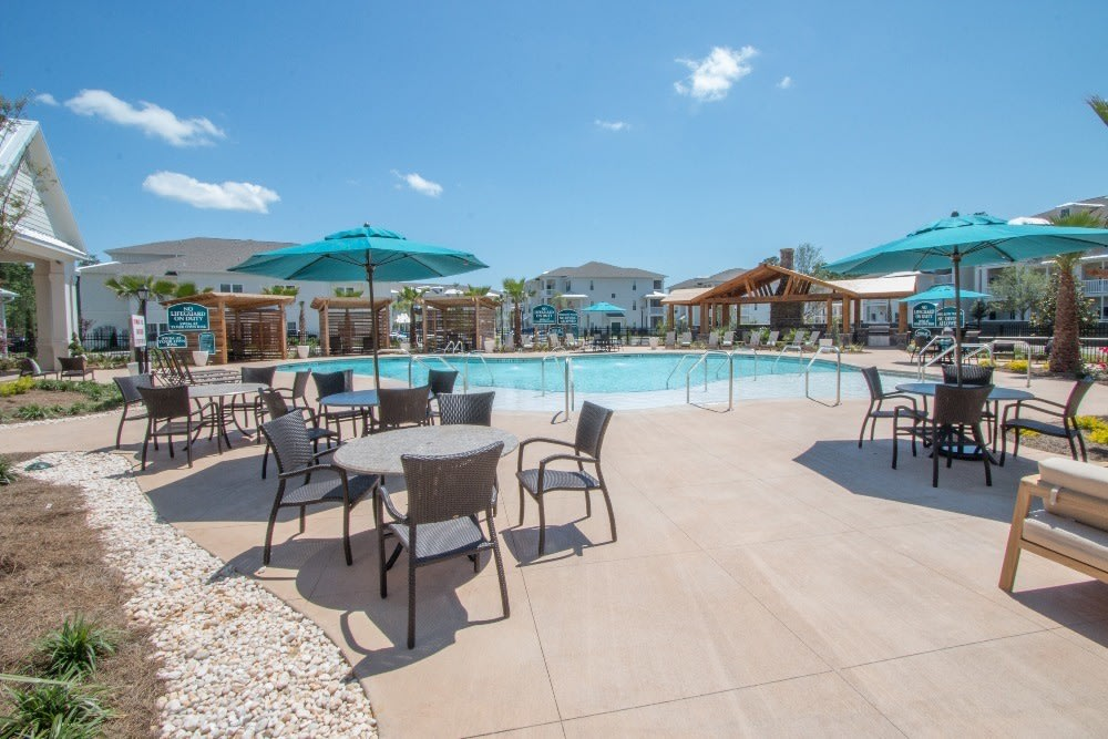 Pool and patio area at Parc at Broad River in Beaufort