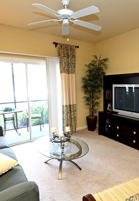 Apartment living room at The Addison in Brandon