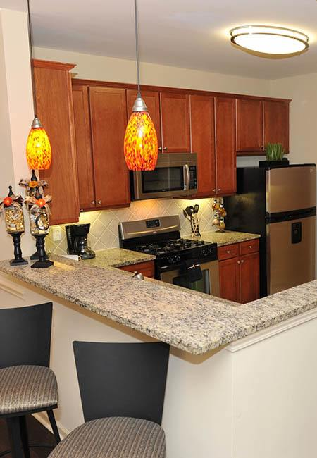 Bright kitchen at The Reserve at Johns Creek Walk in Johns Creek