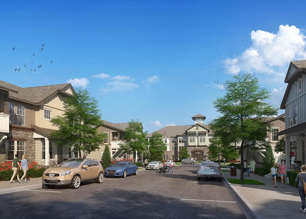 Rendering of the entrance at Brookson Resident Flats in Huntersville