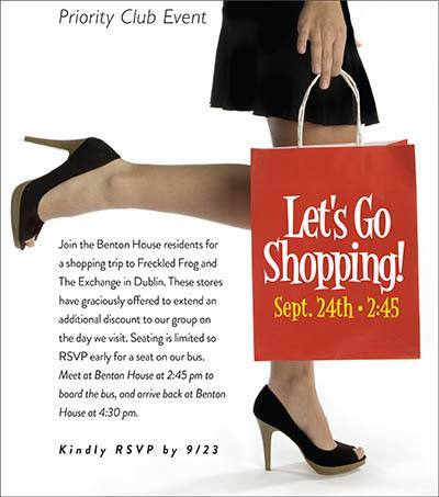 Let's Go Shopping - activities at Benton House of West Ashley in Charleston, SC