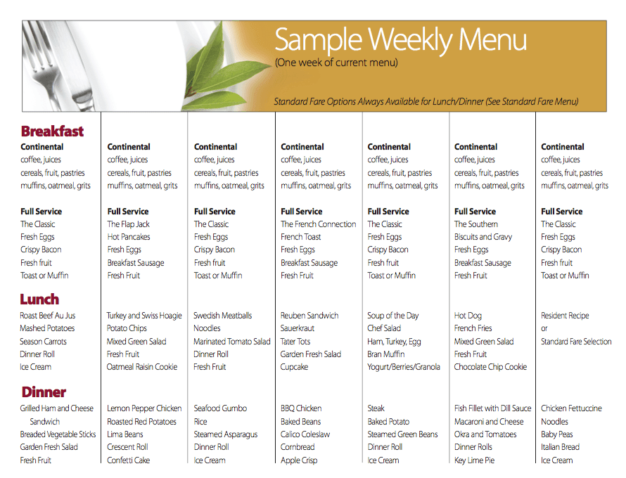 Sample Weekly Menu at Benton House of Staley Hills in Kansas City, MO