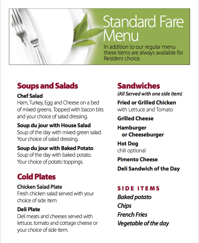 Standard Fare Menu for Benton House of Raymore in Raymore, MO