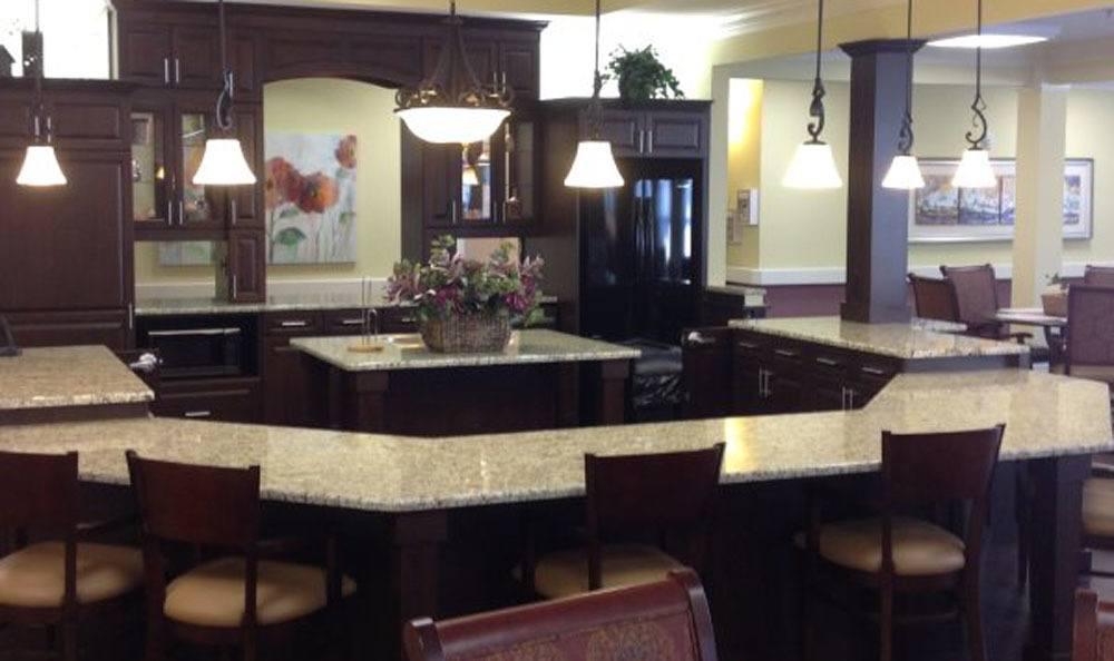 Center island in dining room at Benton House of Augusta in Augusta, GA