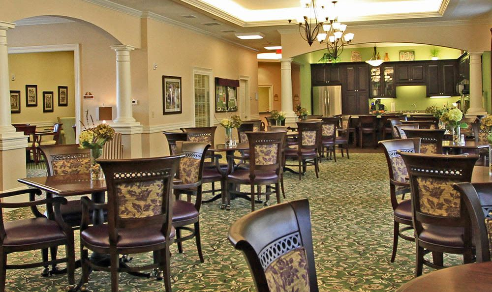 Plenty of seating for family and friends in our dining room at Benton House of Woodstock in Woodstock, GA