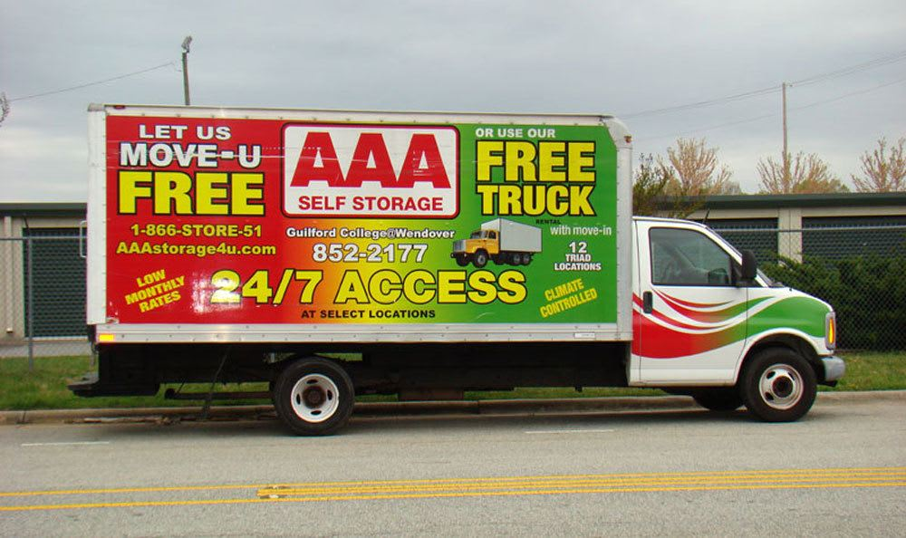Free truck rental with move in to Jamestown, NC self storage