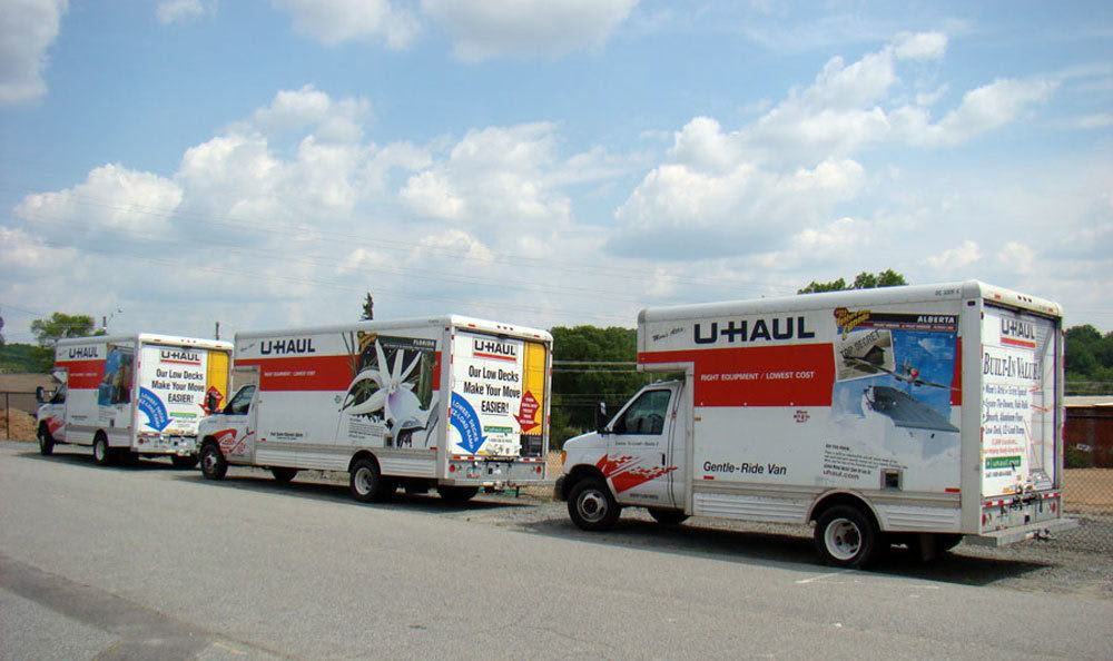 Three Uhaul vans in Winston Salem, NC.
