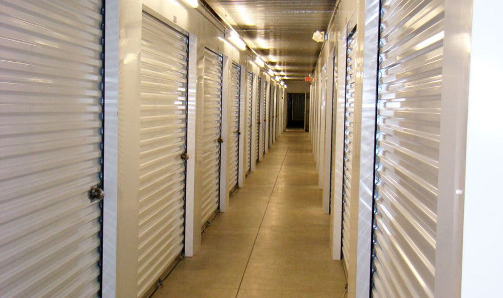 Indoor storage units in a hallway in Winston Salem, NC.