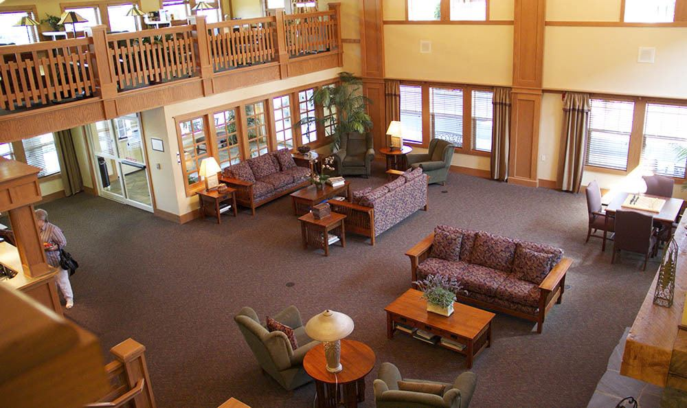 Our senior living facility in Milwaukie has a grand foyer open for relaxing
