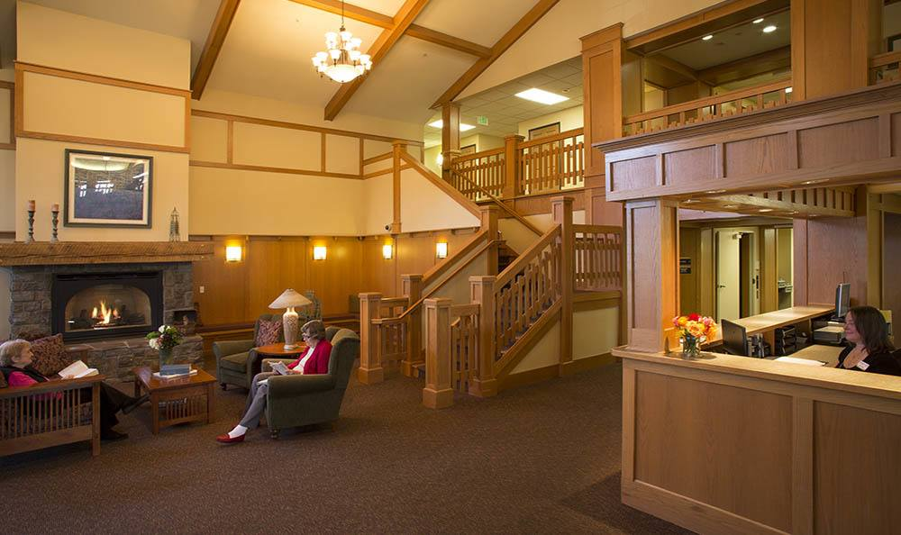 Senior living facility lobby provides the perfect atmosphere in Milwaukie, OR