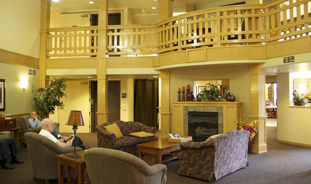 Relax in our inviting senior living lobby in Salem, OR
