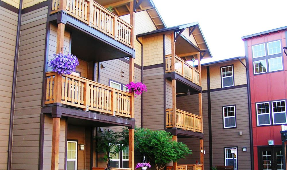 Beautiful patios in our senior living facility in Missoula, MT