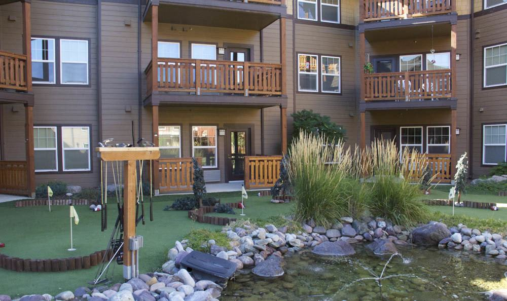 Our senior living pond and putting green in Missoula, MT