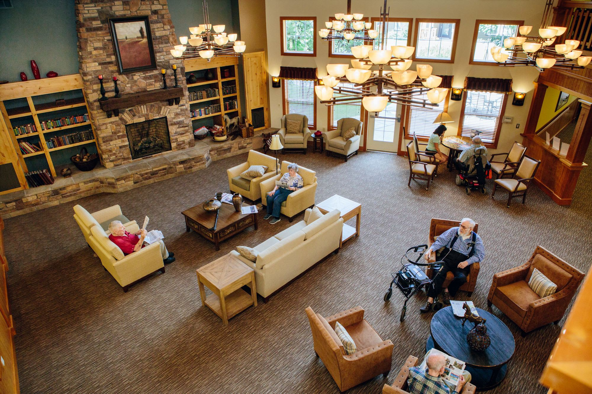 Enjoy our beautiful lobby  in our senior living facility in Missoula, MT