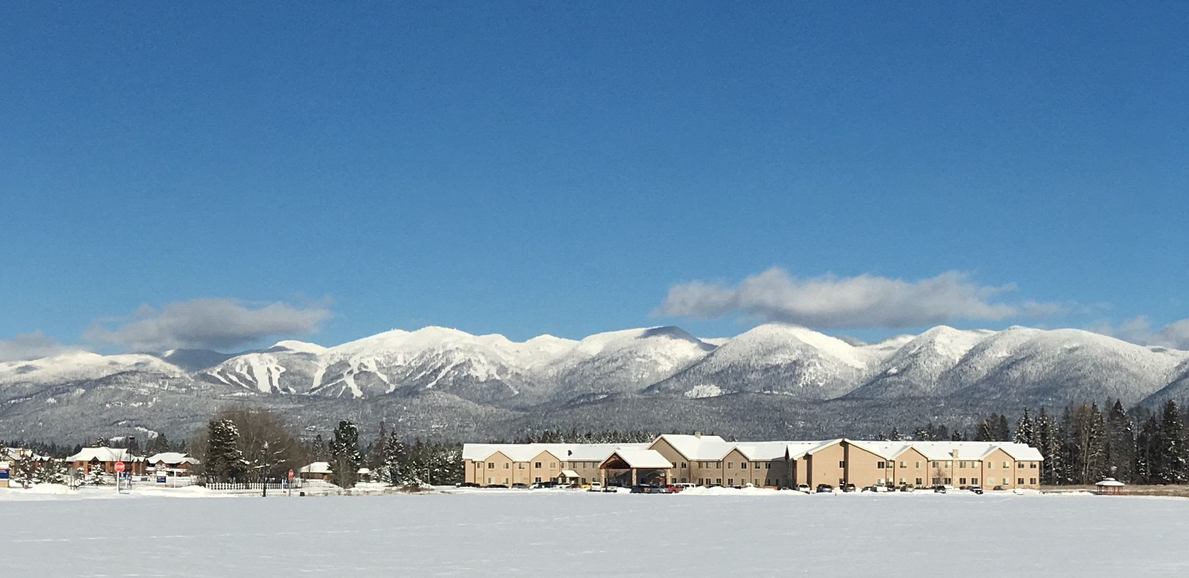 The snowy landscape of our senior living facility in Whitefish, MT