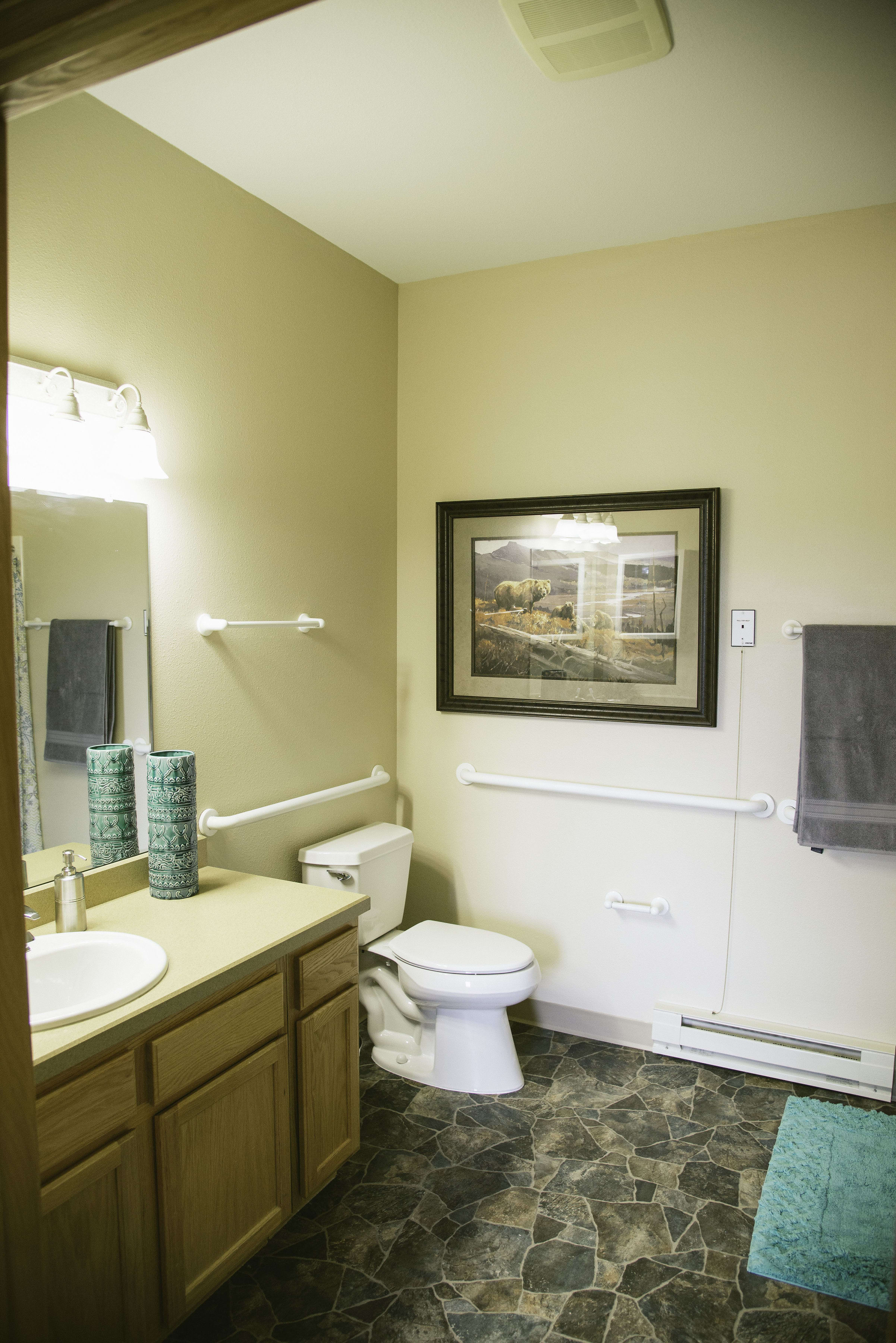 Spacious bathroom of a resident apartment in our senior living facility in Whitefish, MT