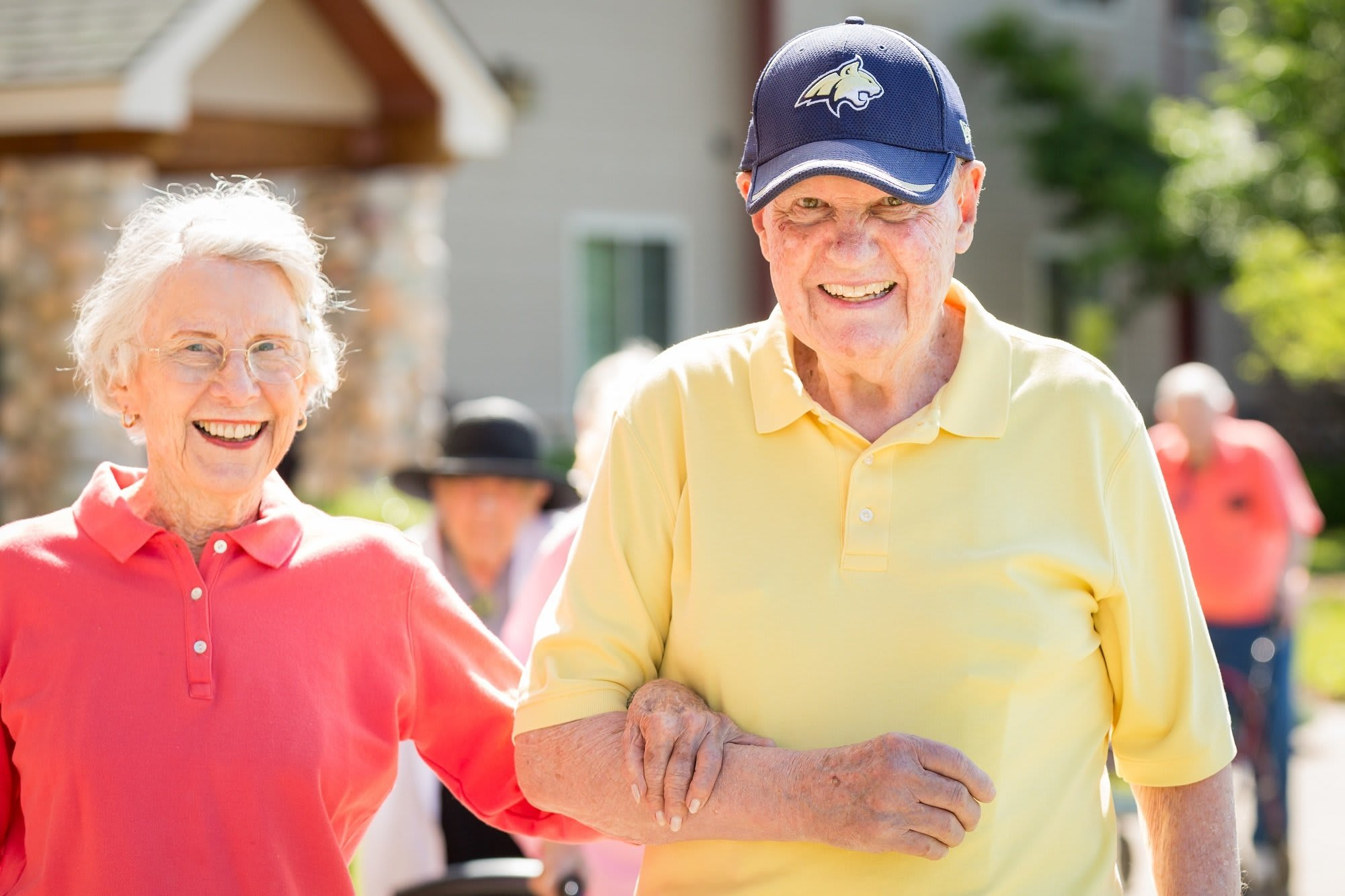 Residents enjoy a walk outside together in Whitefish