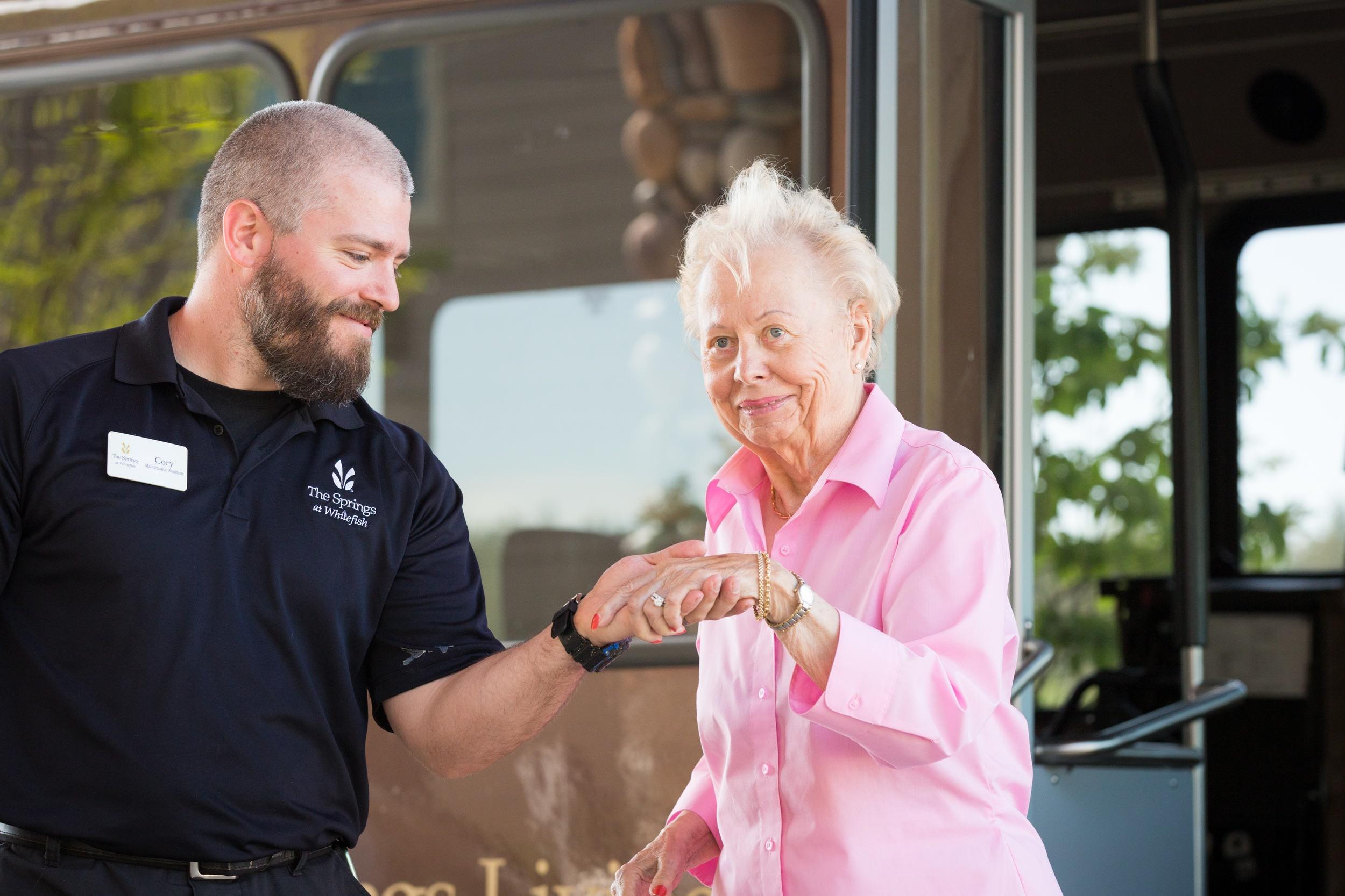 A resident enjoys our transportation services at Whitefish, MT senior living