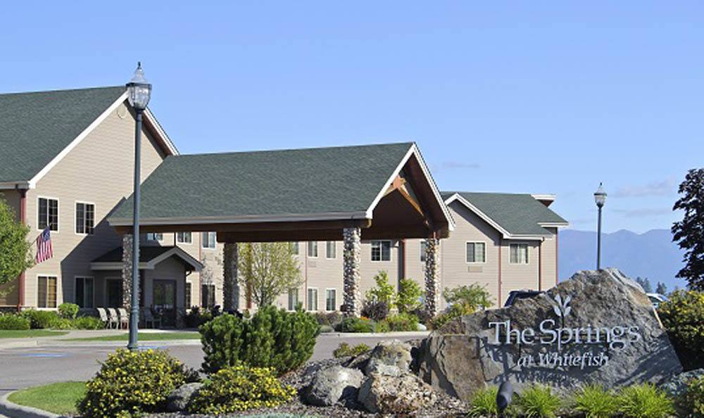 The entrance to our senior living facility in Whitefish, MT