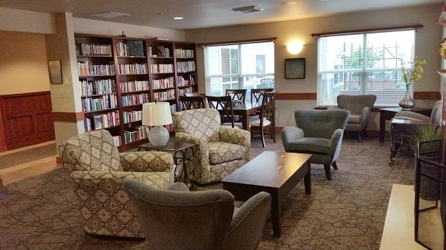 The library of our senior living facility in Sherwood, OR