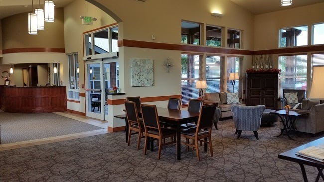 The lobby of our senior living facility in Sherwood, OR