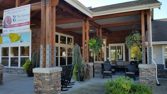 Front entrance to our senior living facility in Sherwood, OR