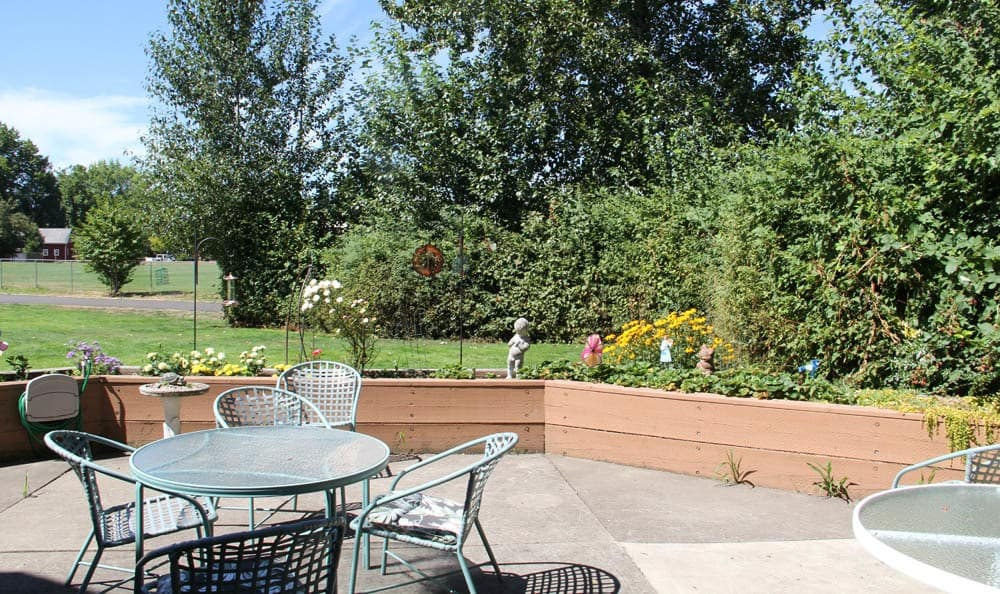 Hangout and enjoy our beautiful back patio in our senior living facility in Sherwood, OR
