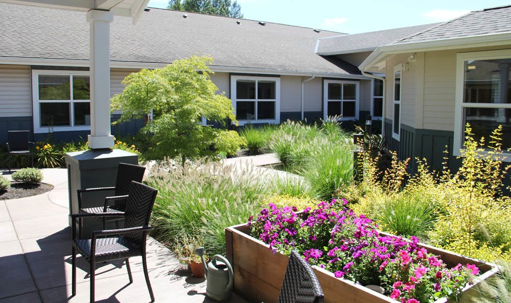Our senior living facility in Sherwood, OR has a wonderful garden to offer as you stroll through our courtyard