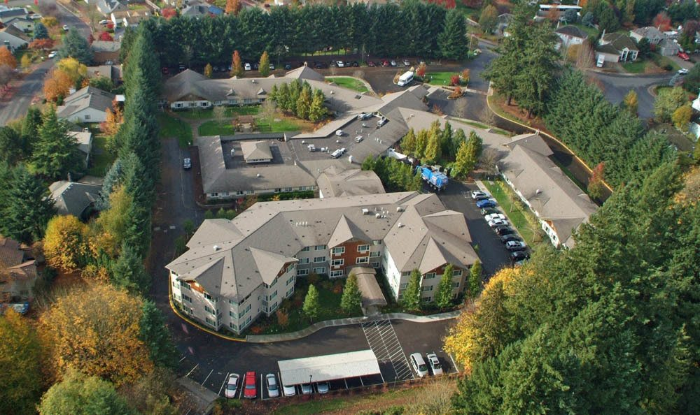 Aerial view of senior living facility in Wilsonville, OR
