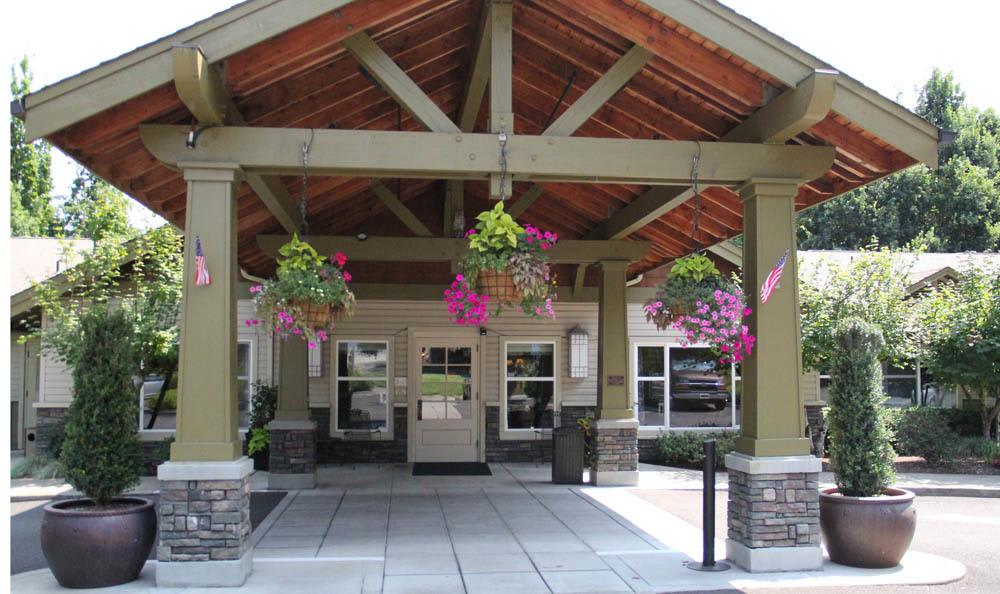 Front entrance of senior living facility in Wilsonville, OR