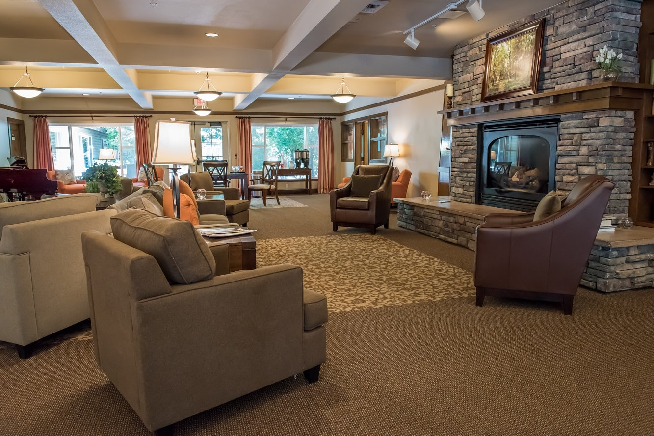 Lobby space of senior living facility in Wilsonville, OR