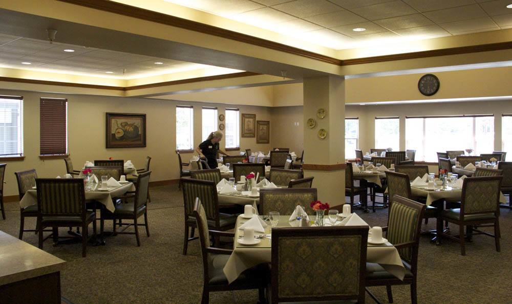 Large dining area located at our senior living facility in The Dalles, OR