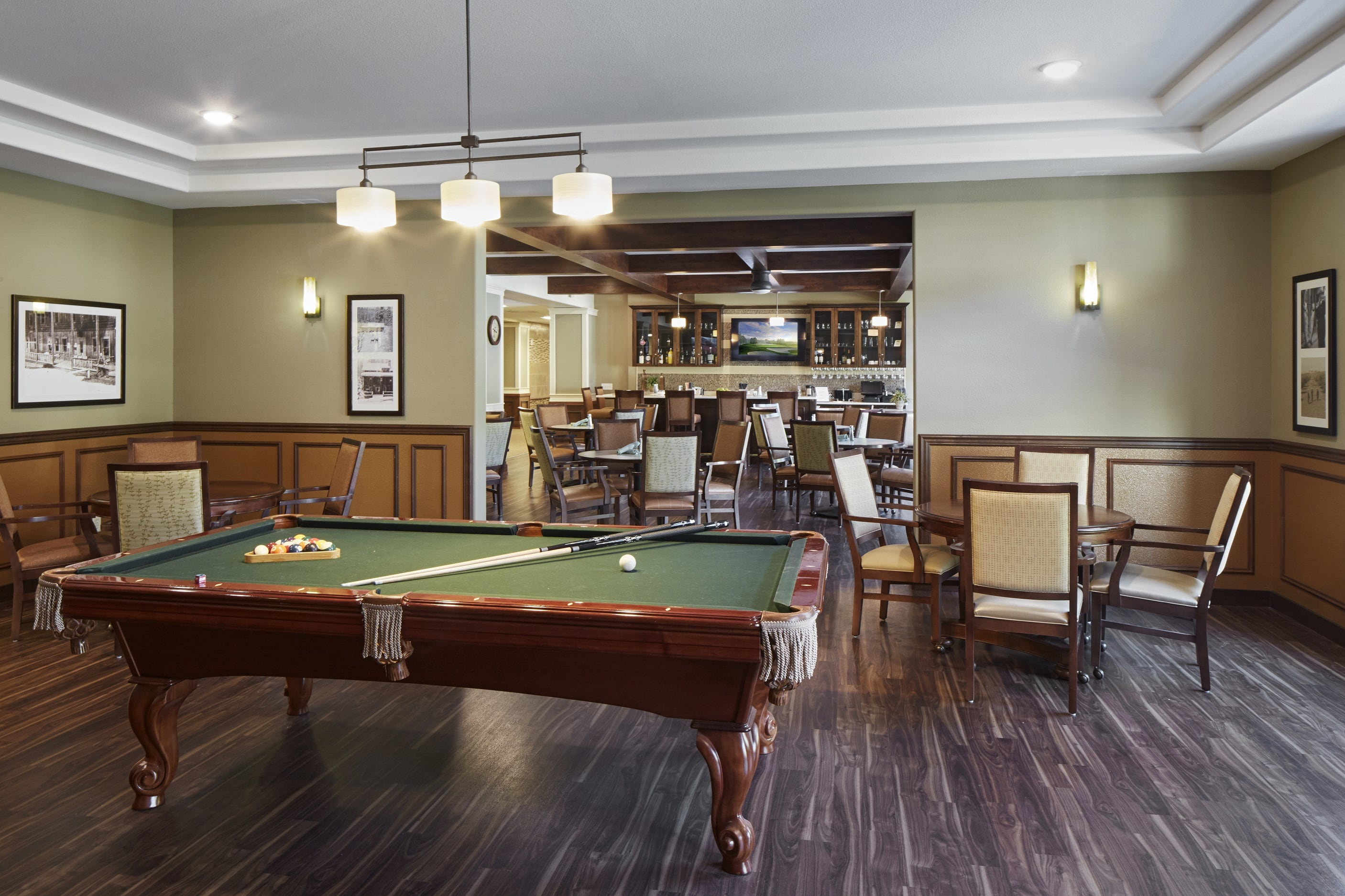 Enjoy a game of pool in Fancho's Pub in our senior living community in Medford, OR